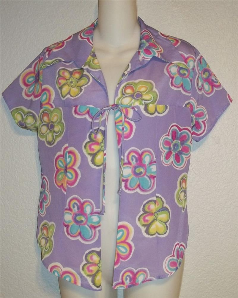 CLE Paris Medium 8 10 Silky Lavender Lime Fuchsia Floral Cover Up Tie Blouse Top