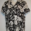 Croft & Barrow Black White Hawaiian Floral Camp Shirt Petite PM 8P10P 100% Rayon