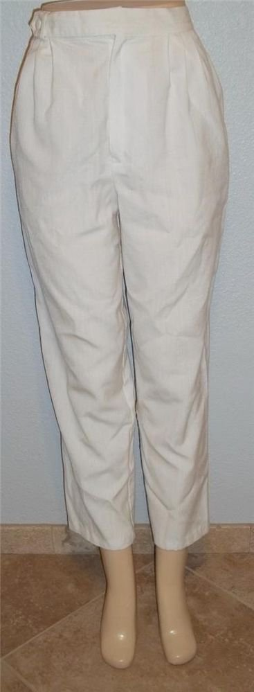 Fundamental Things 12 Large Rayon Blend Linen Lk White Pleated Front Dress Pants