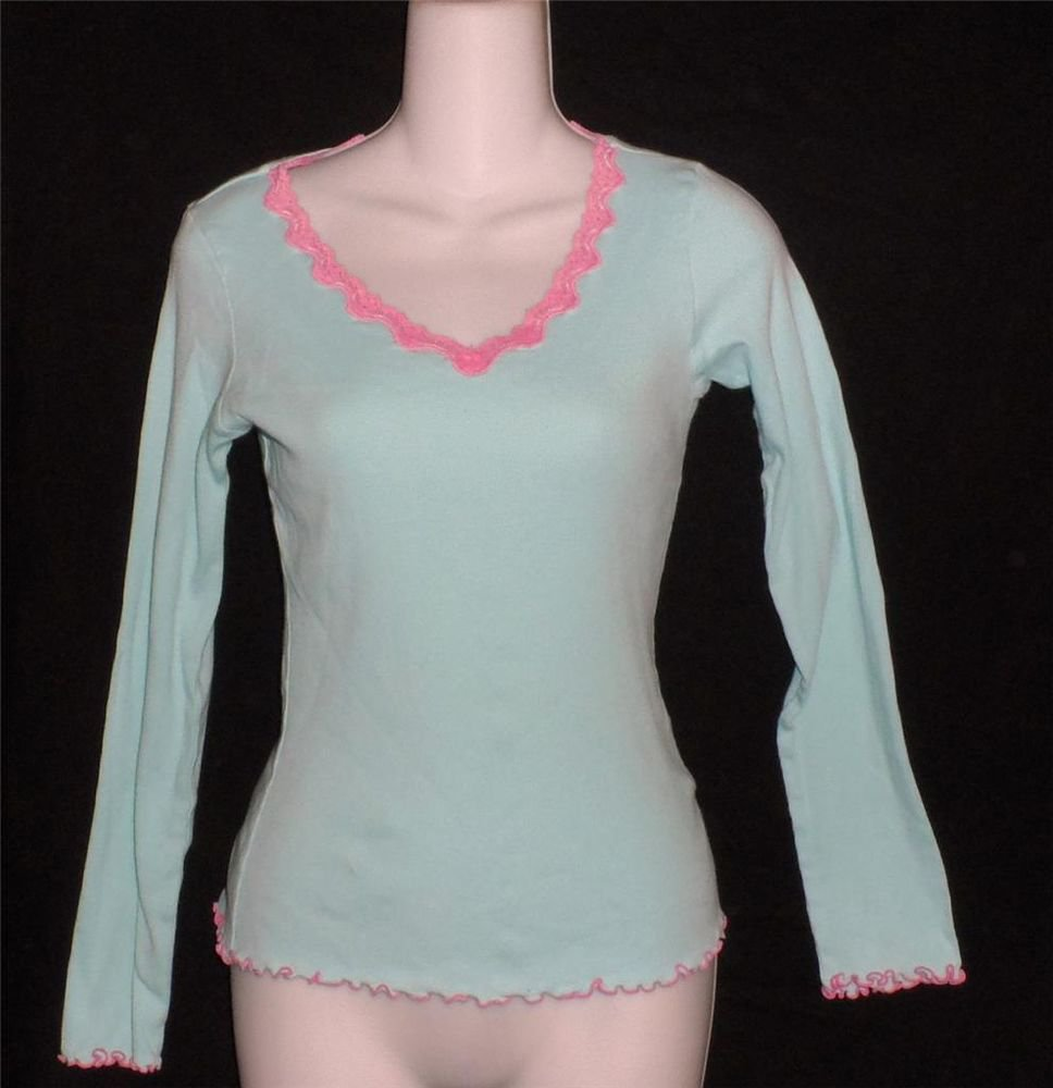 Hue  Junior Small 3 5 Aqua Pink Lace Ribbed Stretchy 100% Cotton Top Vee Neck