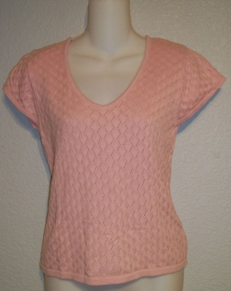 Jones Wear Juniors Medium 7 9 Light Pink Crochet Pattern V-Neck Cap Sleeve Top