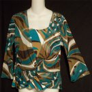 Nicola Medium 8 10 Brown Tan Teal White Sheer Faux Wrap 3/4 Sleeve Blouse Top