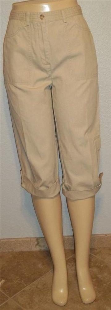 Christopher & Banks 6 Small Khaki Cotton Golf Cropped Cuffs Pockets Capri Pants