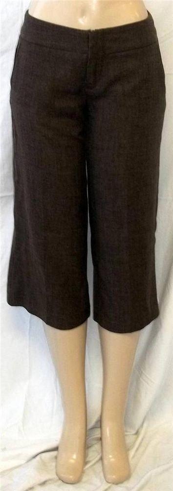 Juniors 7 Medium 3B Chocolate Brown Creased Tweed Look Cropped Dress Gaucho Pant