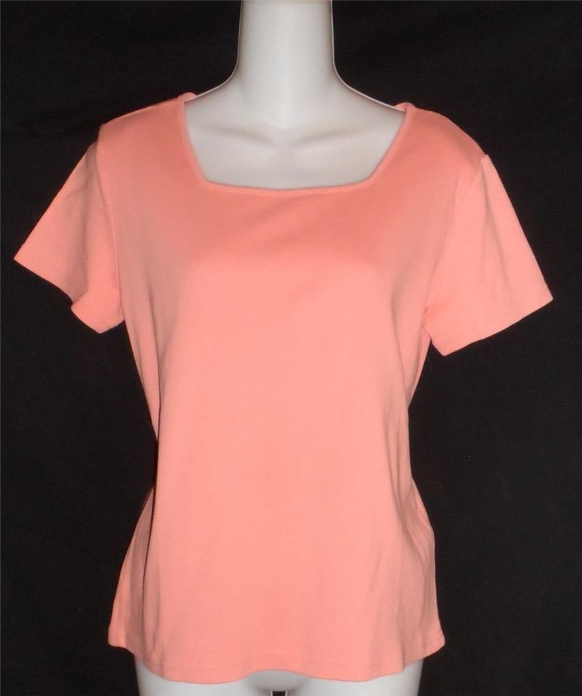 Casual Corner Annex Petite Medium 8 10  Coral Salmon Pink Short Sleeve T Shirt