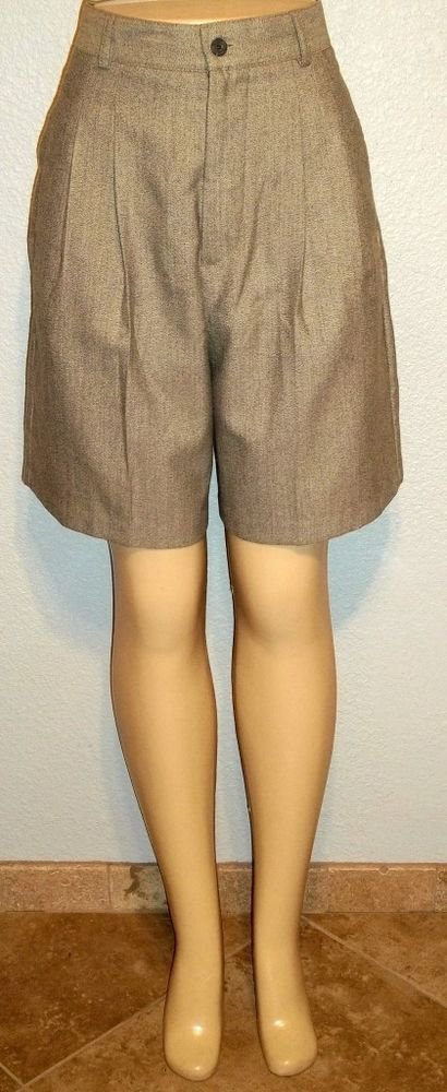 Haley 10 Medium Light Gray Black Pleated Front Rayon Blend Dress Long Shorts