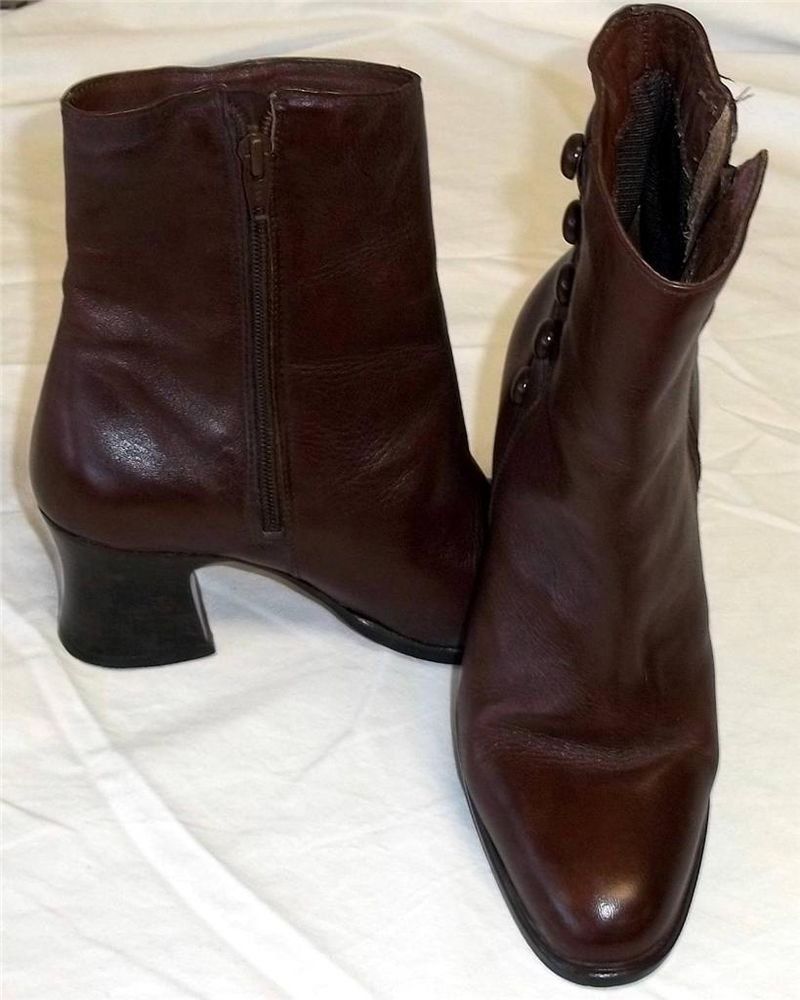 "Poppies 5-1/2 M B Brown Leather Ankle Zipper 2 1/2"" Heel Vintage Lk Dress Boots"