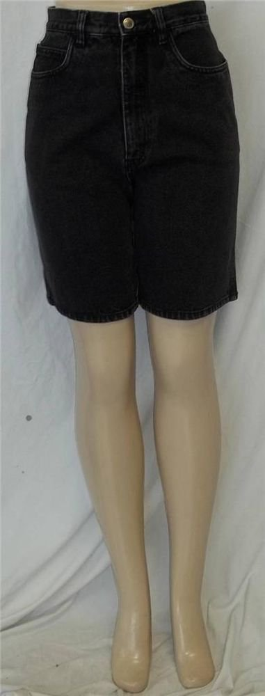 Bill Blass 8 Medium Black Mid Rise Medium Wash Denim Jeans Long Walking Shorts