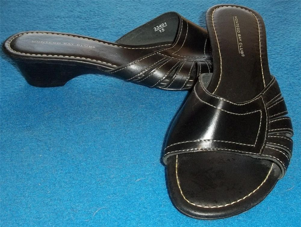 "Montego Bay Club 9 Medium B Black White Stitch Leather Slide Sandal 1-3/4"" Heel"
