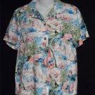 Karen Scott Sport St Tropez  8 10 Medium SS 100% Rayon Camp Shirt Blouse Top