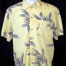 Columbia Men's Medium Yellow Flower Island Swordfish Pattern SS Camp Shirt