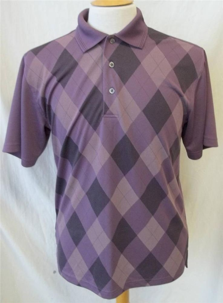 PGA Tour Men's Medium Purple Argyle Design Front SS Polo Golf Collared Shirt
