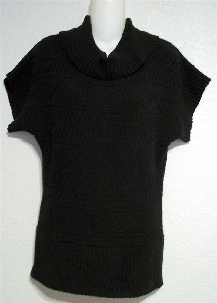 CB Design Small 4 6 Black Acrylic Knit Cowl or Turtleneck Cap Sleeve Sweater Top