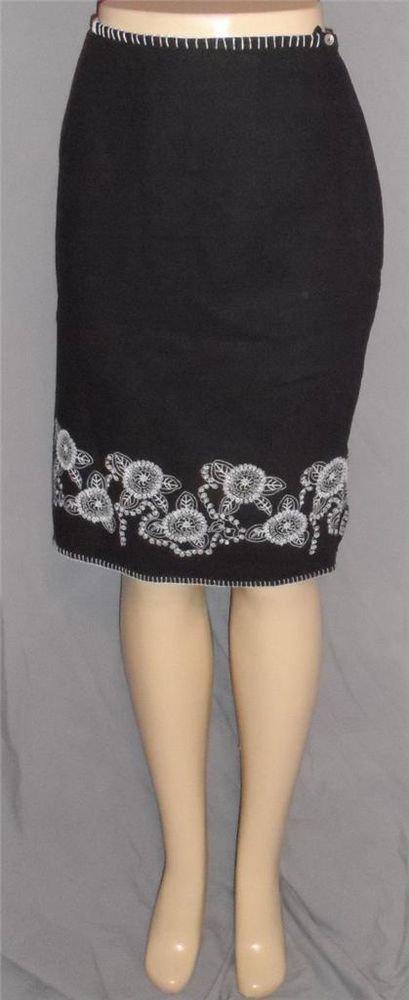 Richard Malcolm 8 Medium Black Linen Rayon Lined Pencil Skirt White Embroidery