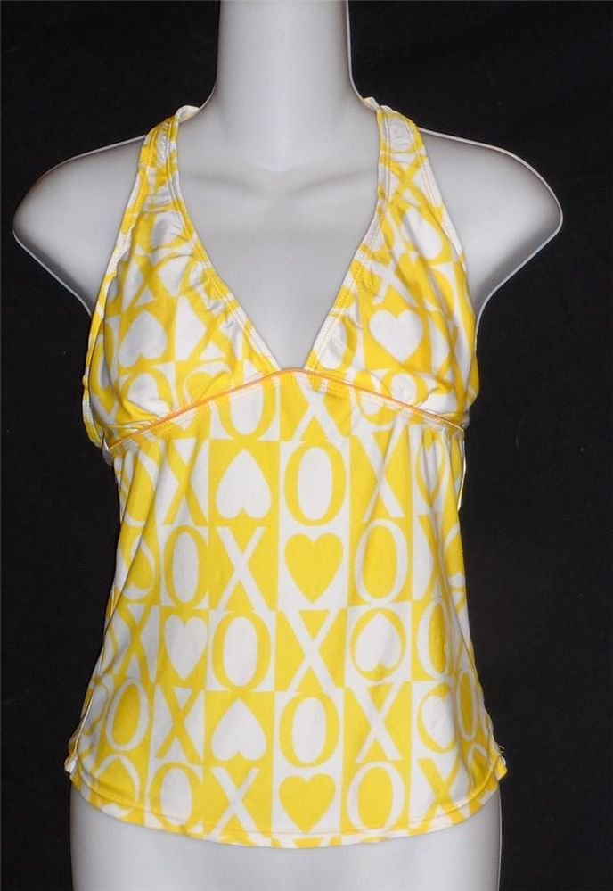 XOXO Junior Medium 7 9 Bright Yellow White  V Neck Halter Swimwear Top Tankini