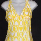 XOXO Junior Medium 7 9 Bright Yellow White  V Neck Halter Swimwear Top Tankini
