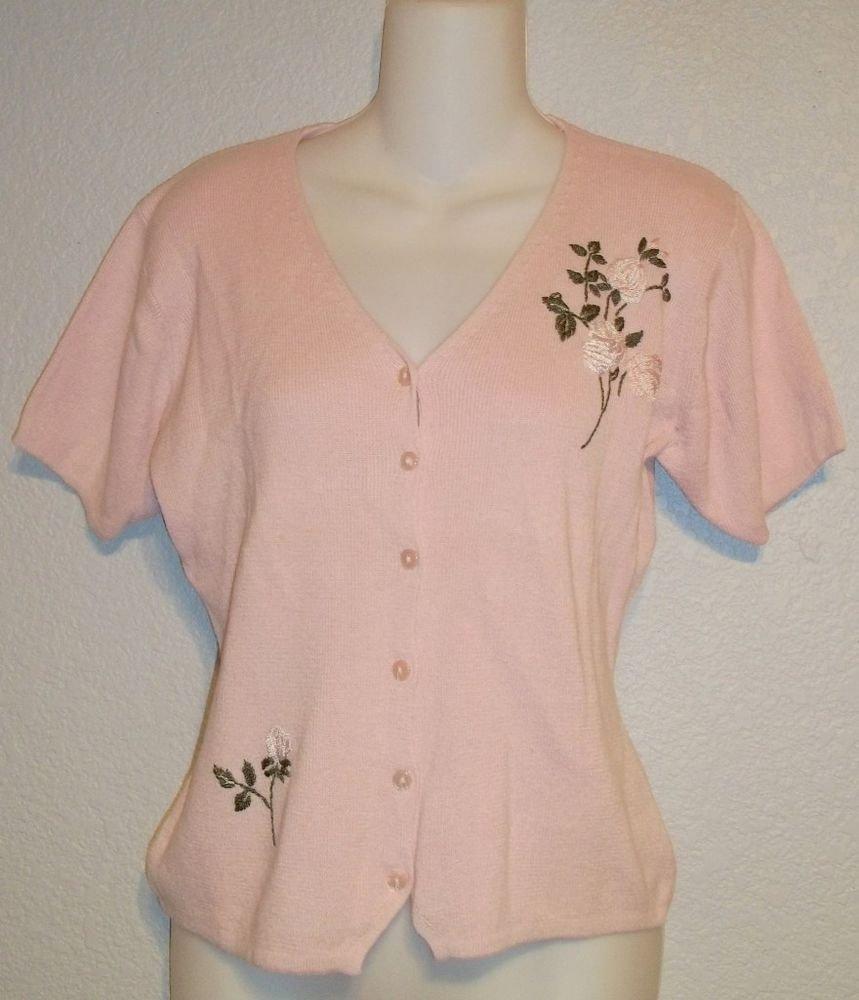 R & K Originals 8 Medium Pale Pink Ramie Cotton Short Sleeve Cardigan Sweater