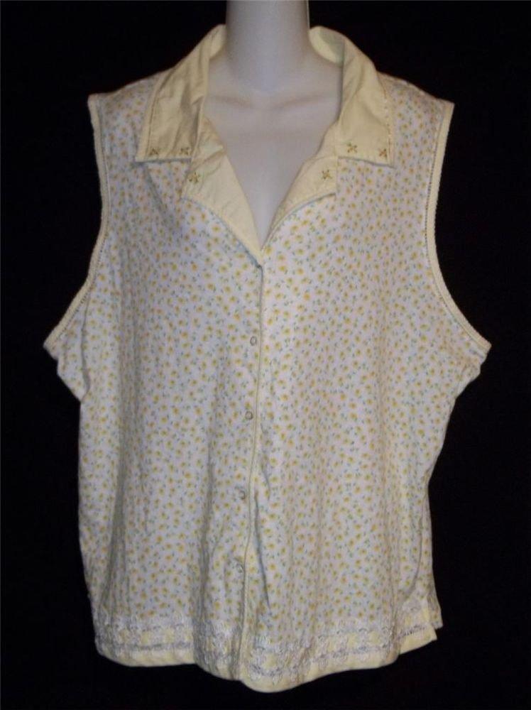 Secret Treasures Woman 3X 22W 24W Sleepwear Yellow White Green Daisy Blouse Top