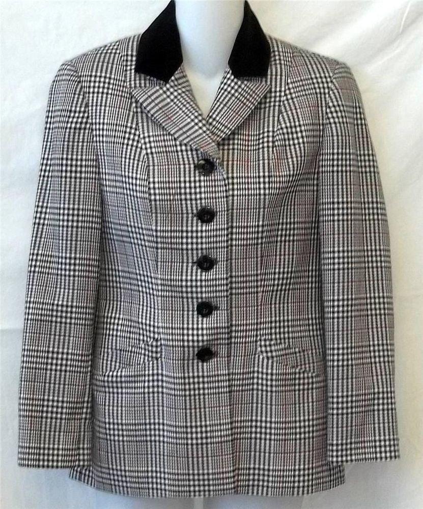 Petite Sophisticate 2P PXS White Black Red Plaid Long Sleeve Lined Jacket Coat