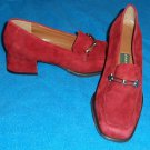 "Easy Spirit 6N 2A AA Burgundy Silver Leather Low 1-1/2"" Suede Loafer Narrow Heel"
