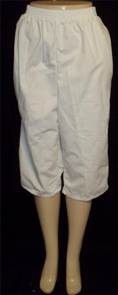 Chic  20W  2X White Cropped Golf Capri Pants Elastic Waist Pockets 100% Cotton