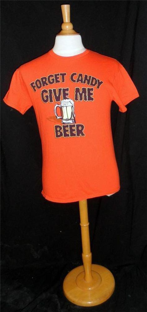 Gildan XL Extra Large Halloween Orange Men's 100% Cotton Beer Graphic SS T-Shirt