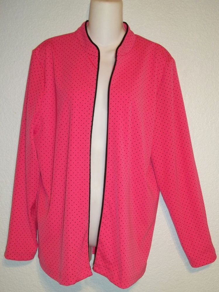 N Touch Small 4 6 Hot Pink Black Polkadot Long Sleeve Stretchy Jacket Cover Up