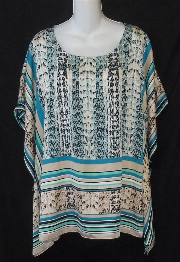 Catalina Collection Aqua White Tan Striped Snakeskin Pattern Batwing Top