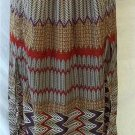 Worthington Small 4 6 Full Length Purple Red Black Tan Chevron High Slit Skirt