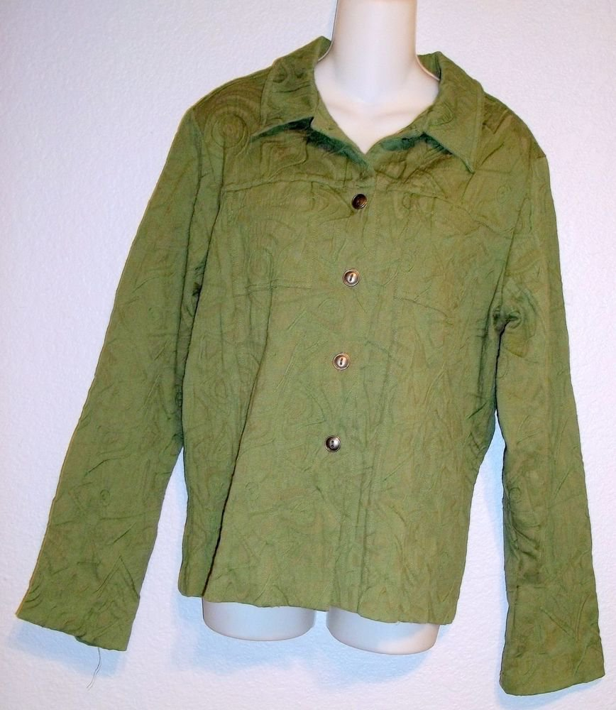 Mirror Image Olive Green Embossed Patterned Button Front Jacket Top XL 16 18