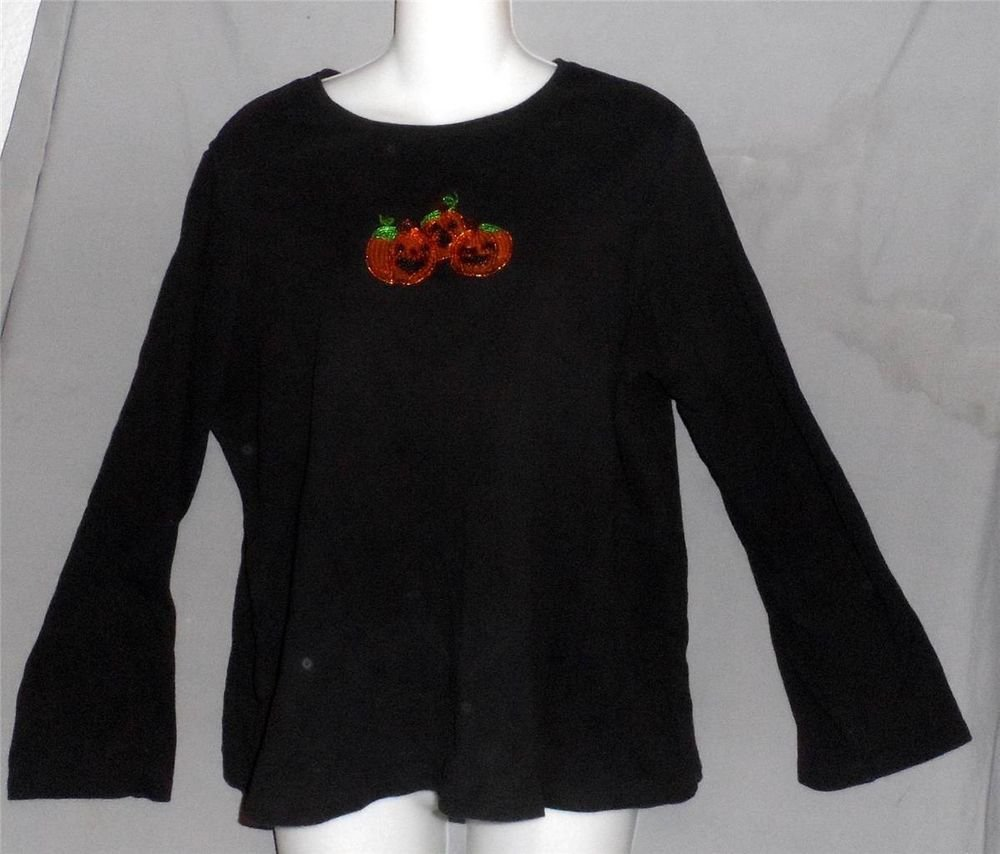 Black 1X 14W 16W Orange Sequined Pumpkin Halloween Long Sleeve 100% Cotton Top