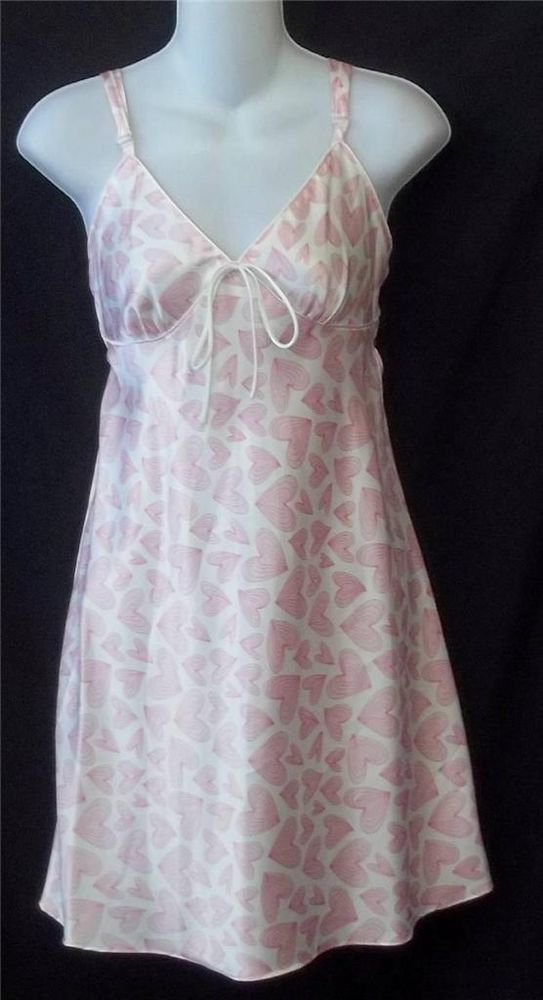 Adonna Medium 8 10 Pink White Hearts Spaghetti Strap Satiny Sleepwear Chemise