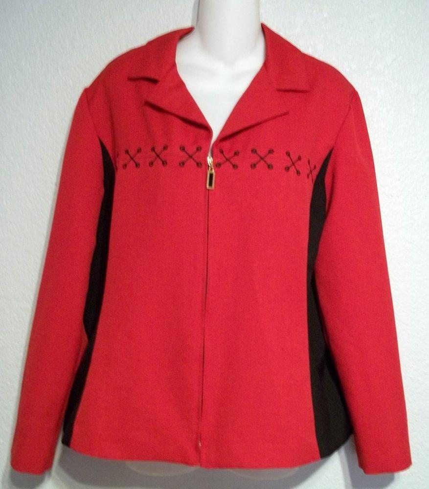 Kari's Korner Red Black Vintage '80s Long Sleeve Light Jacket Top 14 Large L