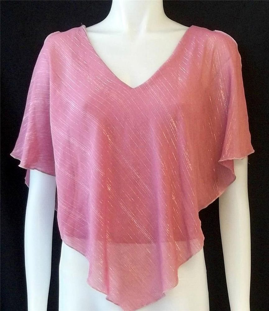 Fashion Art Juniors Small 3 5 Pink Poncho Style Batwing Sleeve Clubwear Top