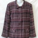 Sag Harbor 10 Medium Purple Plaid Long Sleeve Button Front Lined Jacket Coat