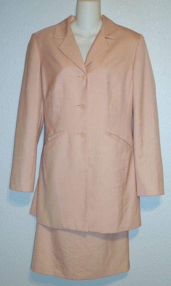 TA Travis Ayers Studio 12 Large Vintage '80s Blush Pink Skirt Long Blazer Suit