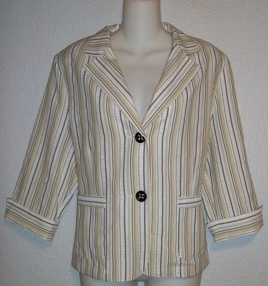 Tan Jay 12 Large White Gray Yellow Metallic Thread Stripe 3/4 Sleeve Blazer