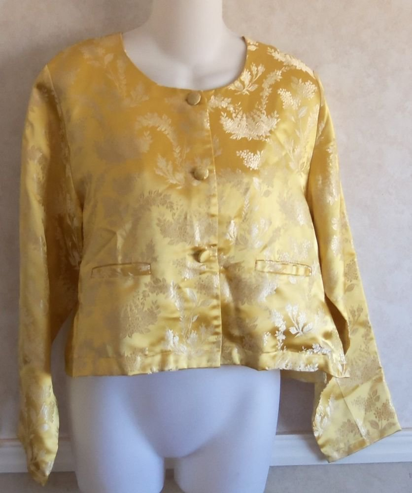 April Cornell Small 4 6 Gold Oriental Asian Silky Brocade Style LS Jacket Top