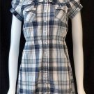 Juniors Medium 7 9 Rue 21 Navy White Silver Plaid Pleated Collared Shirt Blouse