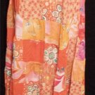 S.I.S. NY Collection One Size Long Skirt Orange Pink Pattern Elastic Tiered