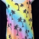 Junior Large 11 13 Op Bright Pastel Rainbow Palm Tree Beach Bathing Suit Coverup