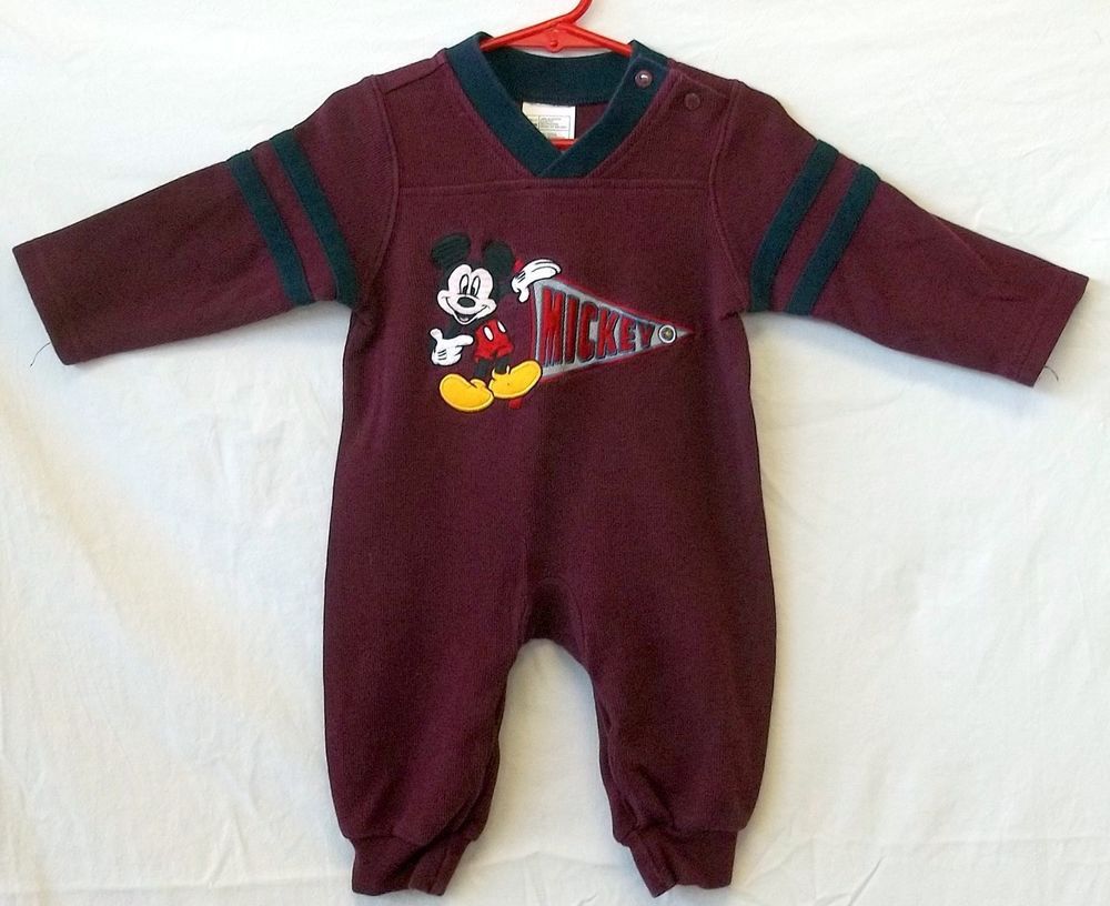 Mickey Mouse 6 Months Infant Maroon Navy Stripes LS One Piece Sleeper Outfit