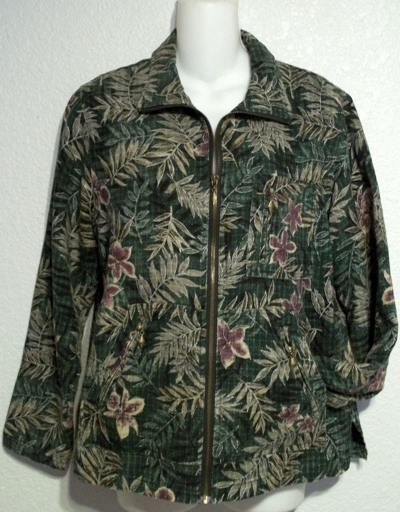Keren Hart Small 4 6 Forest Green Floral Silk Zipper Lined Long Sleeve Jacket