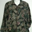 Keren Hart Small 4 6 Forest Green Floral Silk Zipper Lined Long Sleeve Jacket