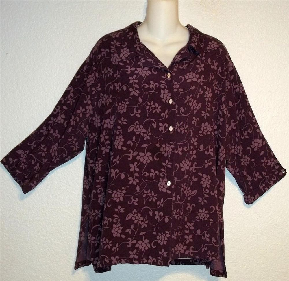 Yazdi XL 16 18 Extra Large Dark Lavender Floral 100% Rayon 3/4 Sleeve Blouse Top