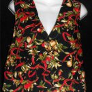 Hand Made Large 12 14 Reversable Black Christmas Holly Acorn V Neck Cotton Vest