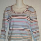 Old Navy Medium 8 10 Blues Beige White Striped Scoopneck Stretchy Knit Top