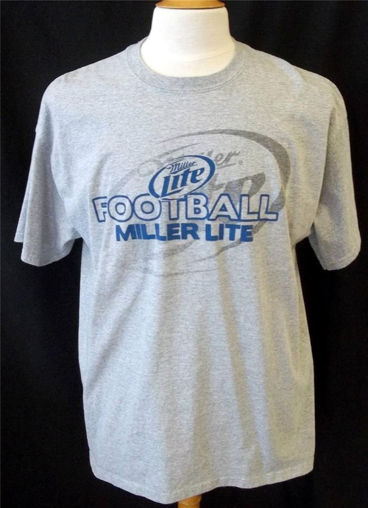 Gildan Men's XL Gray Blue Miller Lite Beer Football Cotton Short Sleeve T Shirt