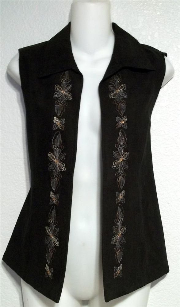 Birch Hill Small 4 6 Black Suede-feel Floral Embroidered Sleeveless Vest