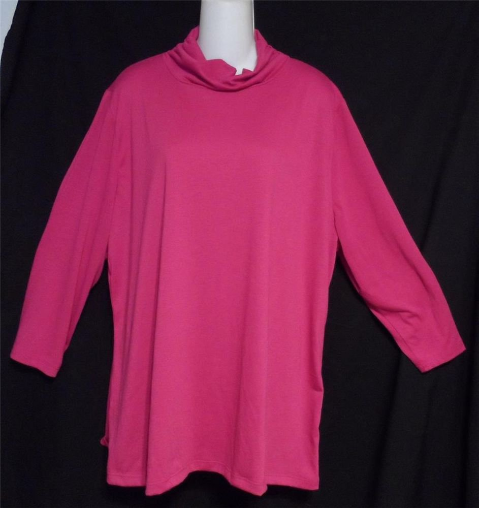 Allison Brittney Woman 3X 22W 24W Dark Rose LS Mock Turtle Mini Blouse Top